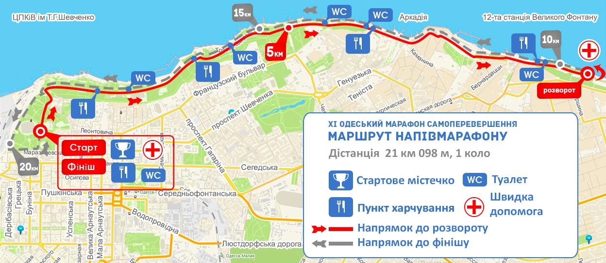 11-й Одесский марафон Самопревосхождение. Трасса полумарафона