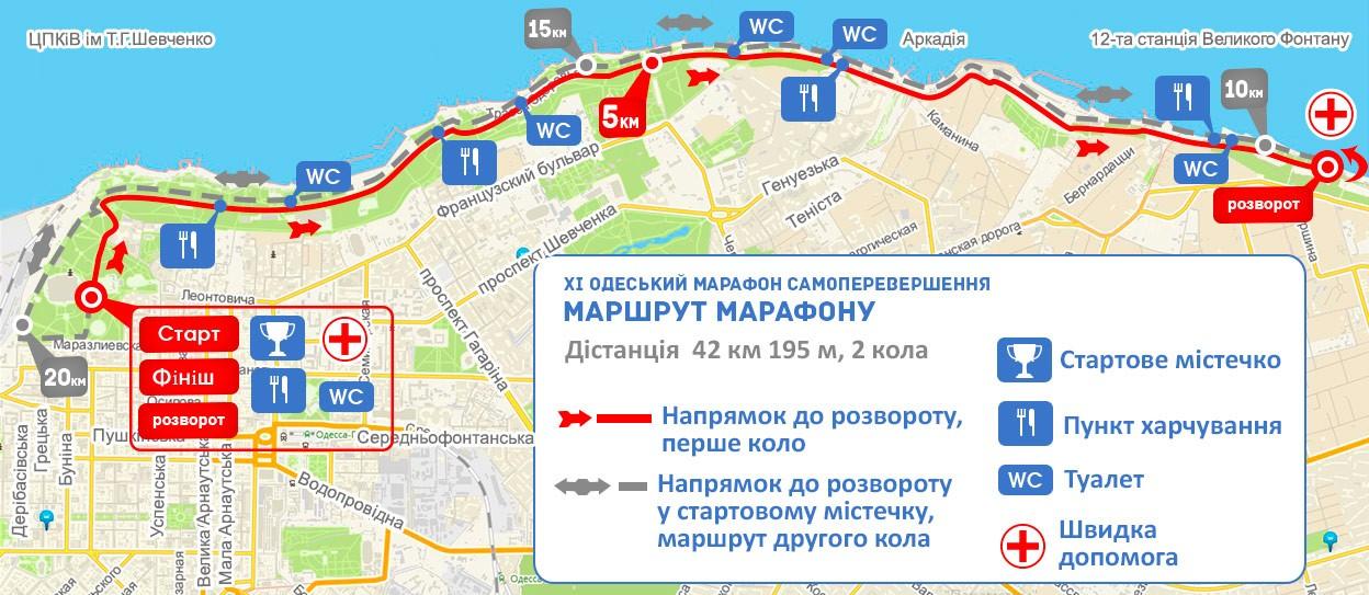 11-й Одесский марафон Самопревосхождение. Трасса марафона